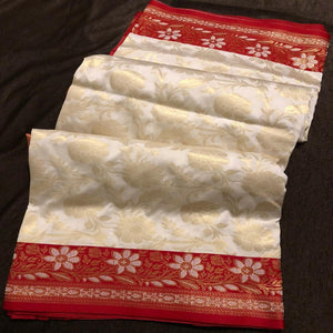 Banarasi silk saree red and cream,Banarasee silk saree, Bengali saree, Pujo saree