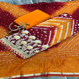 Bandhani Salwar Suit In Orange And Mehroon ,bandhani print salwar suits, Bandhani Suits Online