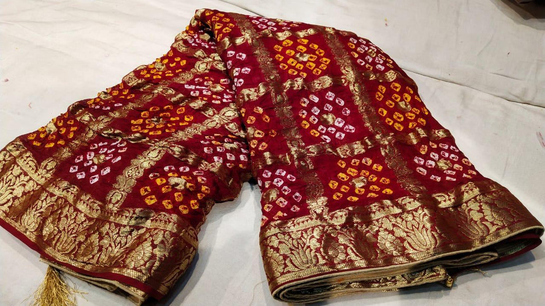 Bandhej Banarasi Silk Saree In Red Maroon,Surat Gota Patti Sarees In Wholesale Shopping,Royal Bandhej Saree