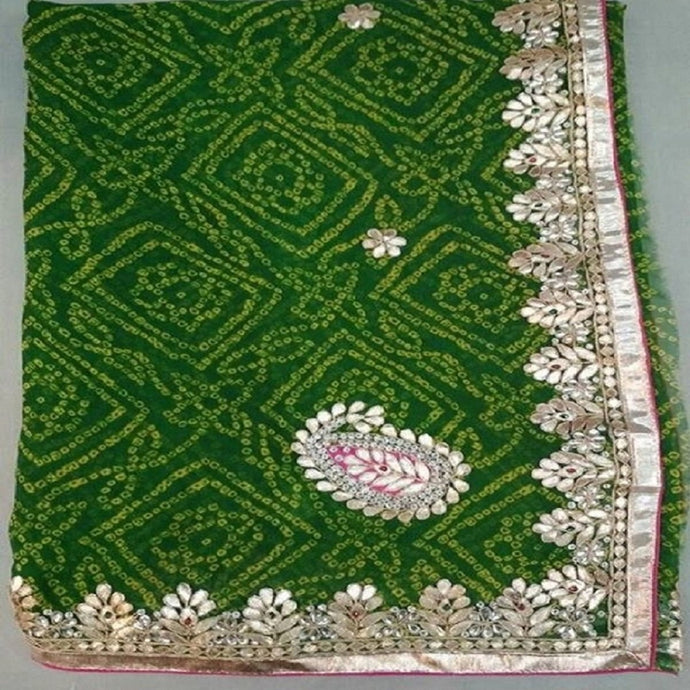 Bandhini Green gota patti work saree,gota patti saree price,gota patti saree best price in india