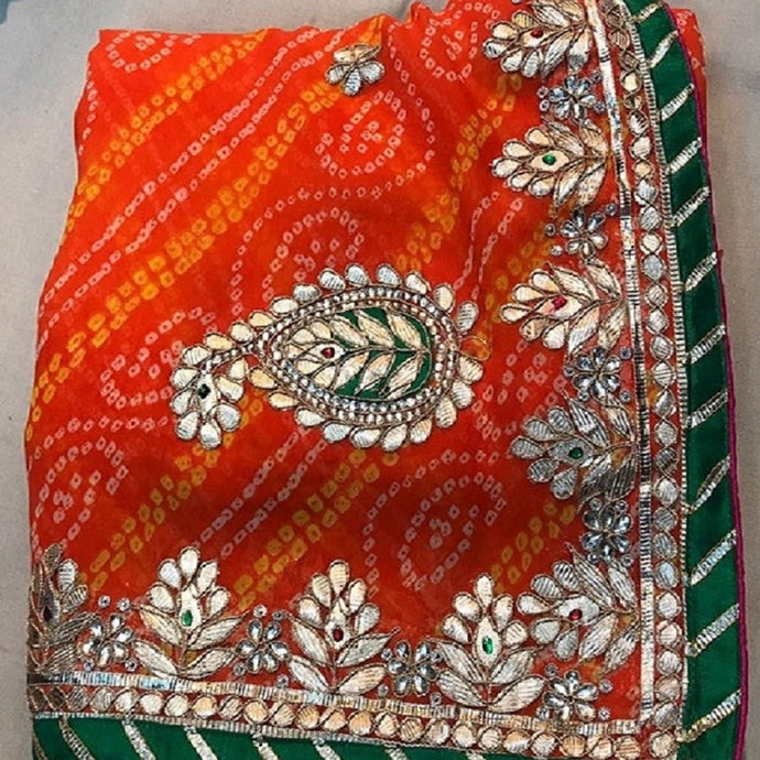Bandhini orange gota patti work saree,gota work saree, gota patti work saree online