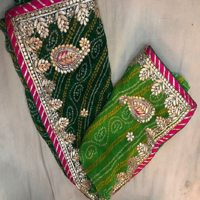 Bandhni green gota patti work saree,gota patti sarees best rates india, Jaipur gota saree
