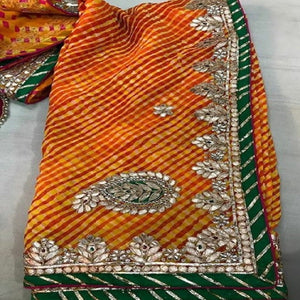 Beautiful Yellow lahariya gota patti work saree,rajasthani gota saree, gota patti saree rajasthan