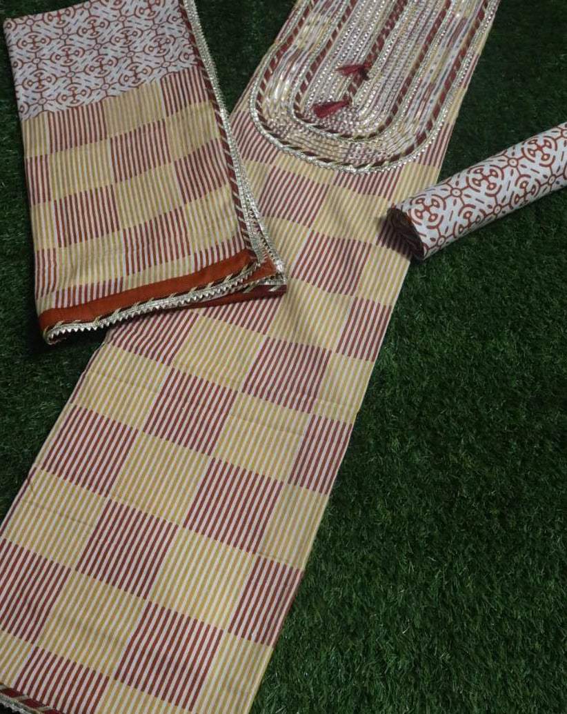 Beige Pink Jaipur Gota Block Printed Salwar Suits ,Traditional Salwar Suits,Casual Salwar Suits, Gota patti suits, Office Wear Casual Salwar Suits Jaipuri Gota Suits