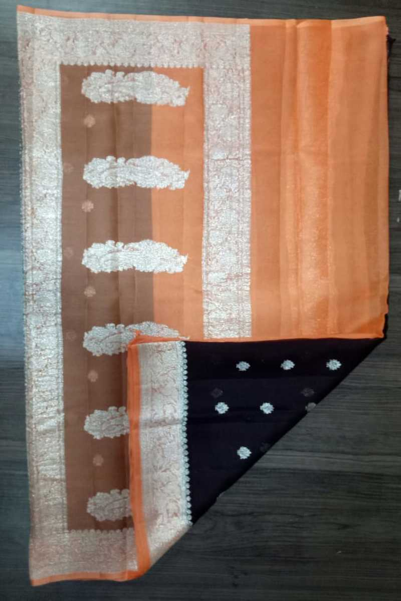 Orange & Black Banarasi khaddi chiffon saree, Pure Khaddi Georgette Sarees, Pure banarasi saree online