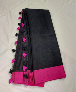 Black And Pink Pure Linen Saree,authentic linen saree, digital printed linen saree, line sarees online