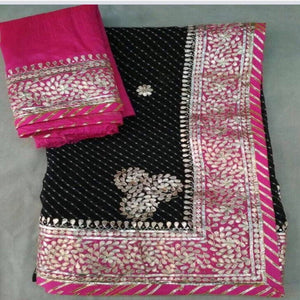 Black Heavy Gotapatti Saree,Gota Patti Saree Jaipur, Gota Patti Saree Wholesale