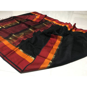 Black And Mehroon Maheshwari Saree, Pure Maheshwari Sarees, Maheshwari Sarees In Maheshwar