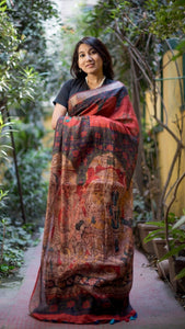 Pure Linen Saree Black & Red Color,Authentic Linen Saree