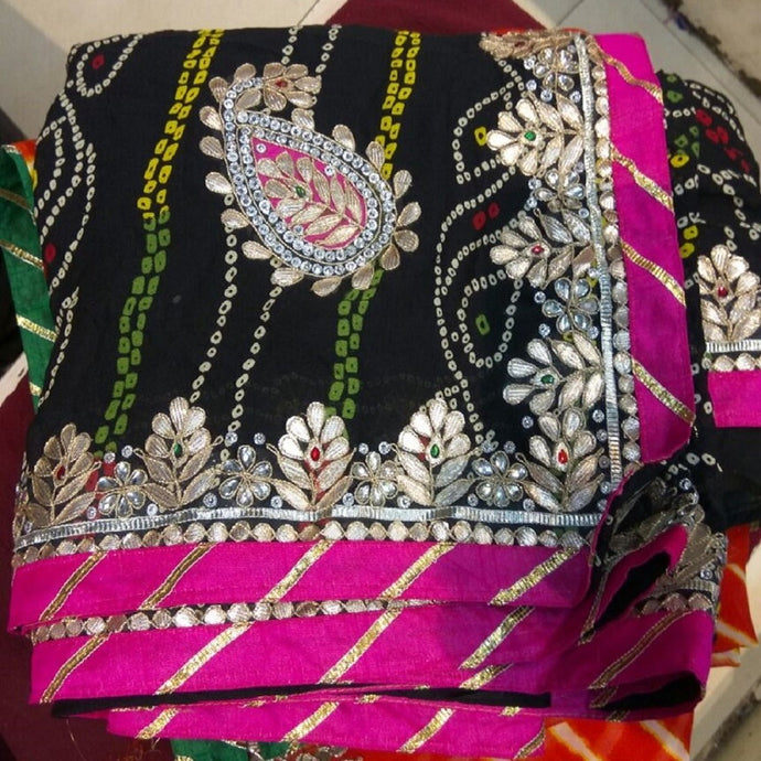 Black bandhini gota patti work saree,gota work saree,gota work saree online rates