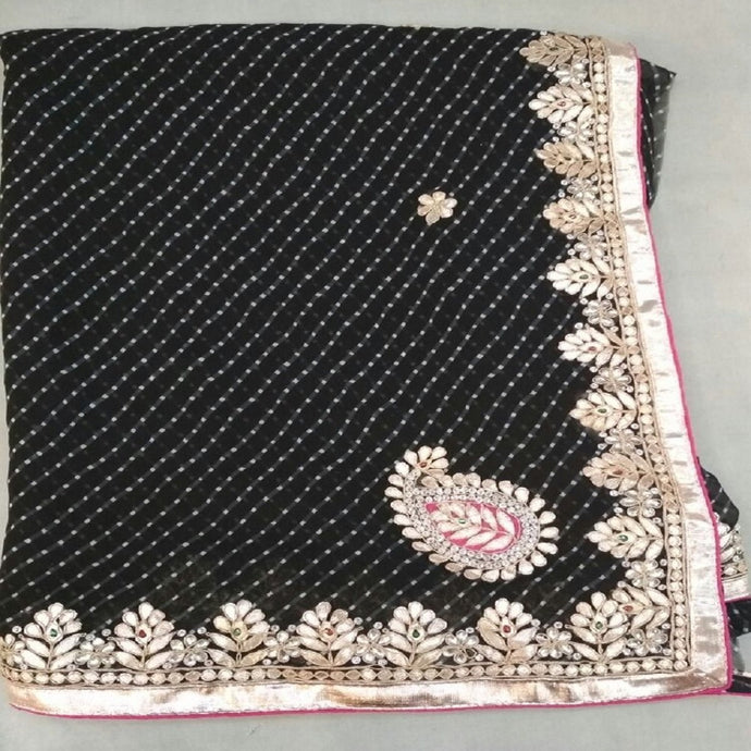 Black mothra gota patti work ethnic saree,Gota Patti Saree Online, Gota Patti Saree Dikhaiye