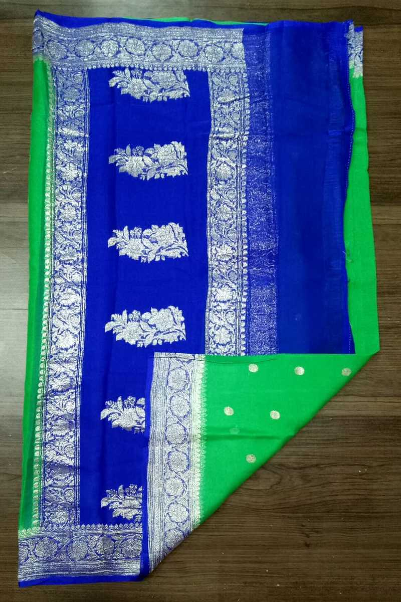 Blue And green Banarasi khaddi georgette Saree, Khaddi chiffon saree online, Pure khaddi chiffon saree