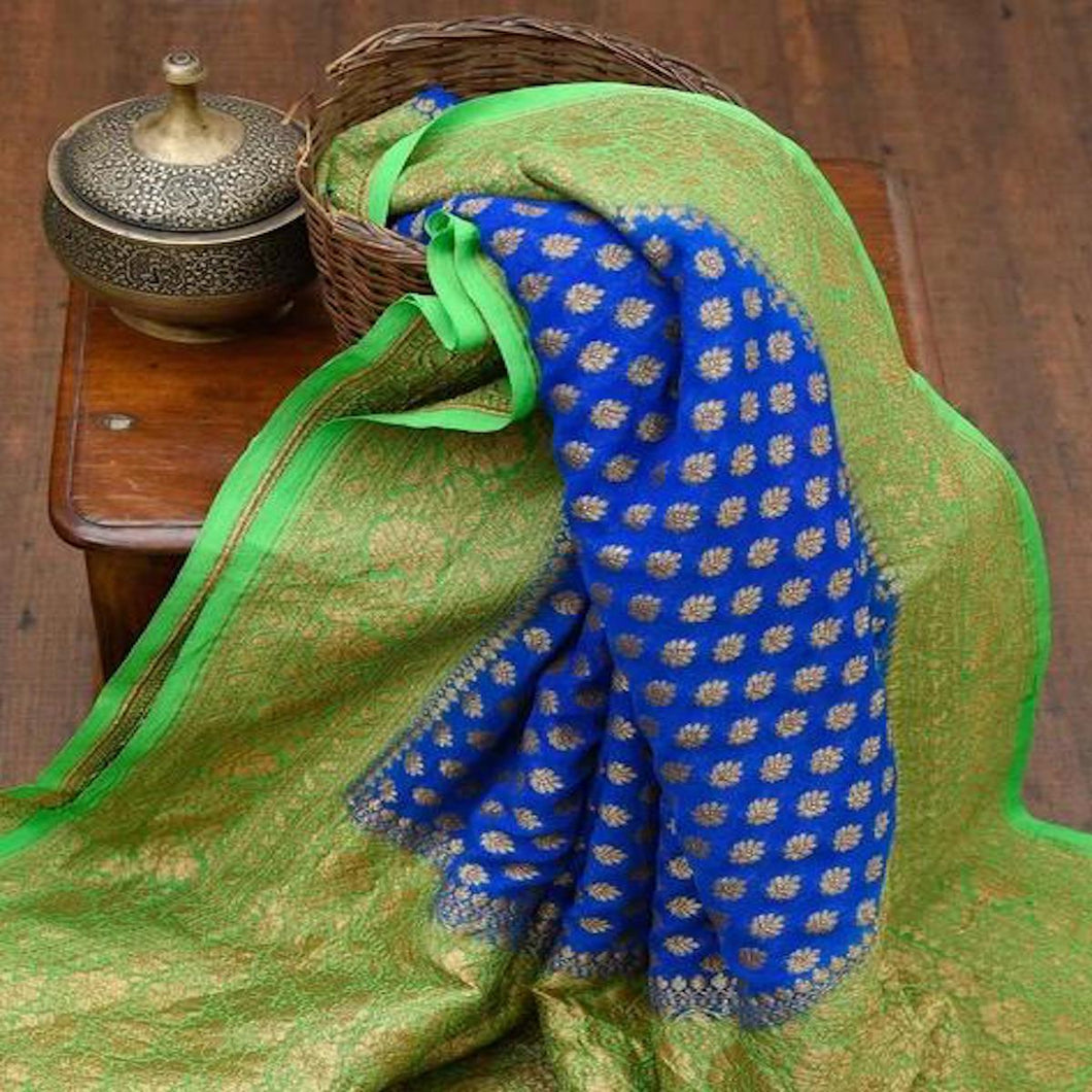 Blue And Green Heavy Banarasi Saree