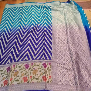 Banarasi khaddi saree with meenakari work in blue