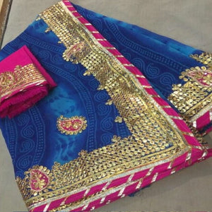 Blue Bandej Saree With Gota Patti Work,Gota Patti Saree Price,Gota Patti Saree Best Price In India