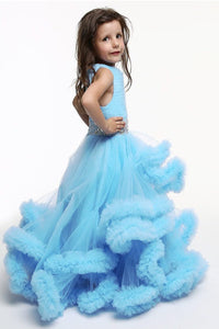 Blue Color Frill Dress For Baby