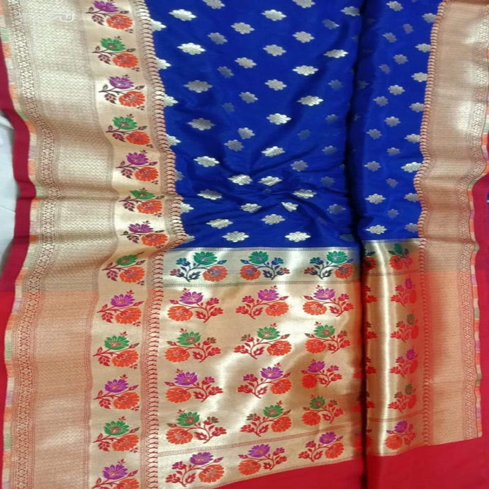 Blue Katan Silk BanarasiSaree,Traditional Sarees, Banarasi Saree, Katan Silk Banarasi saree, Banarasi Handloom Saree