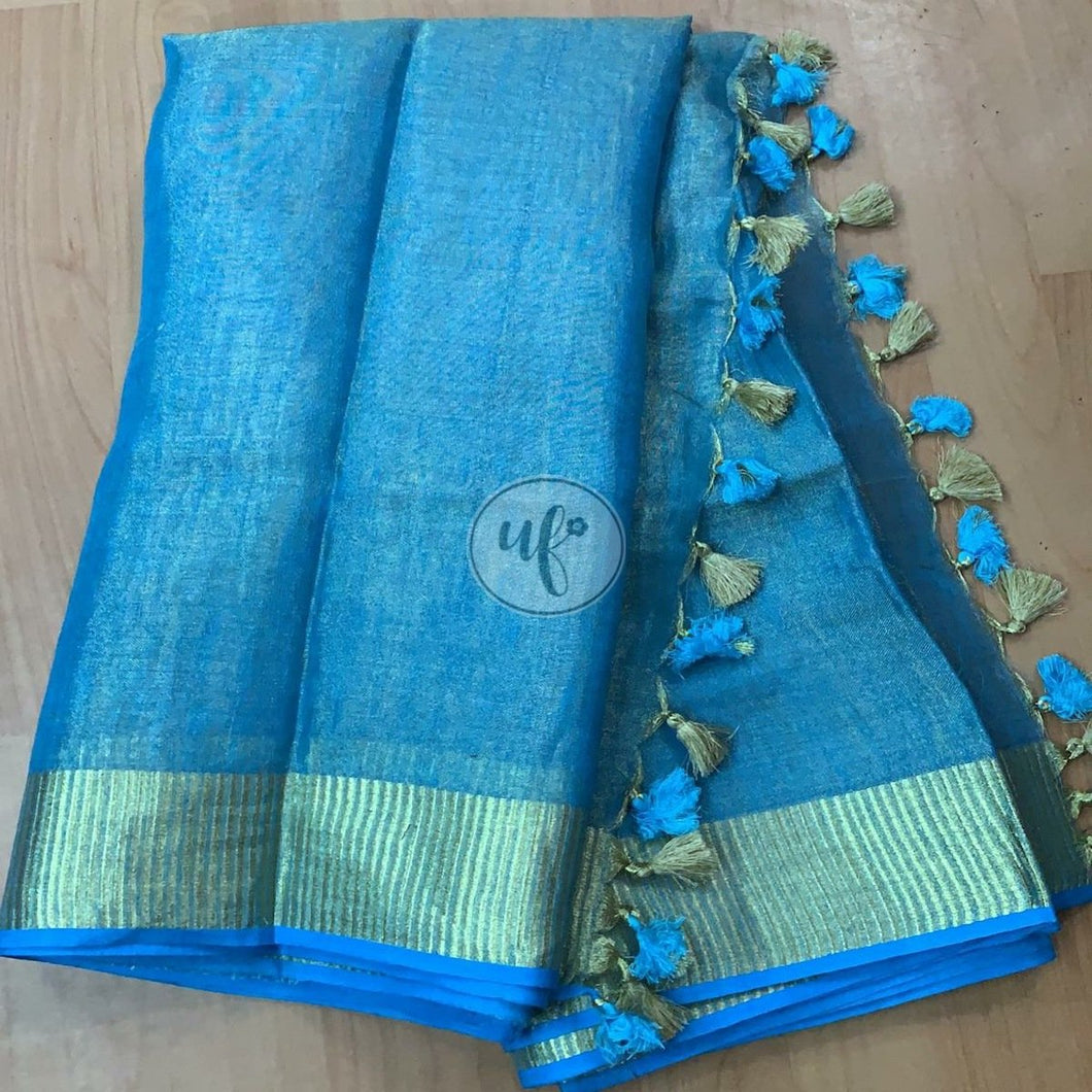 Buy Blue  Linen Tissue Saree With Blouse Online from jhakhas.com