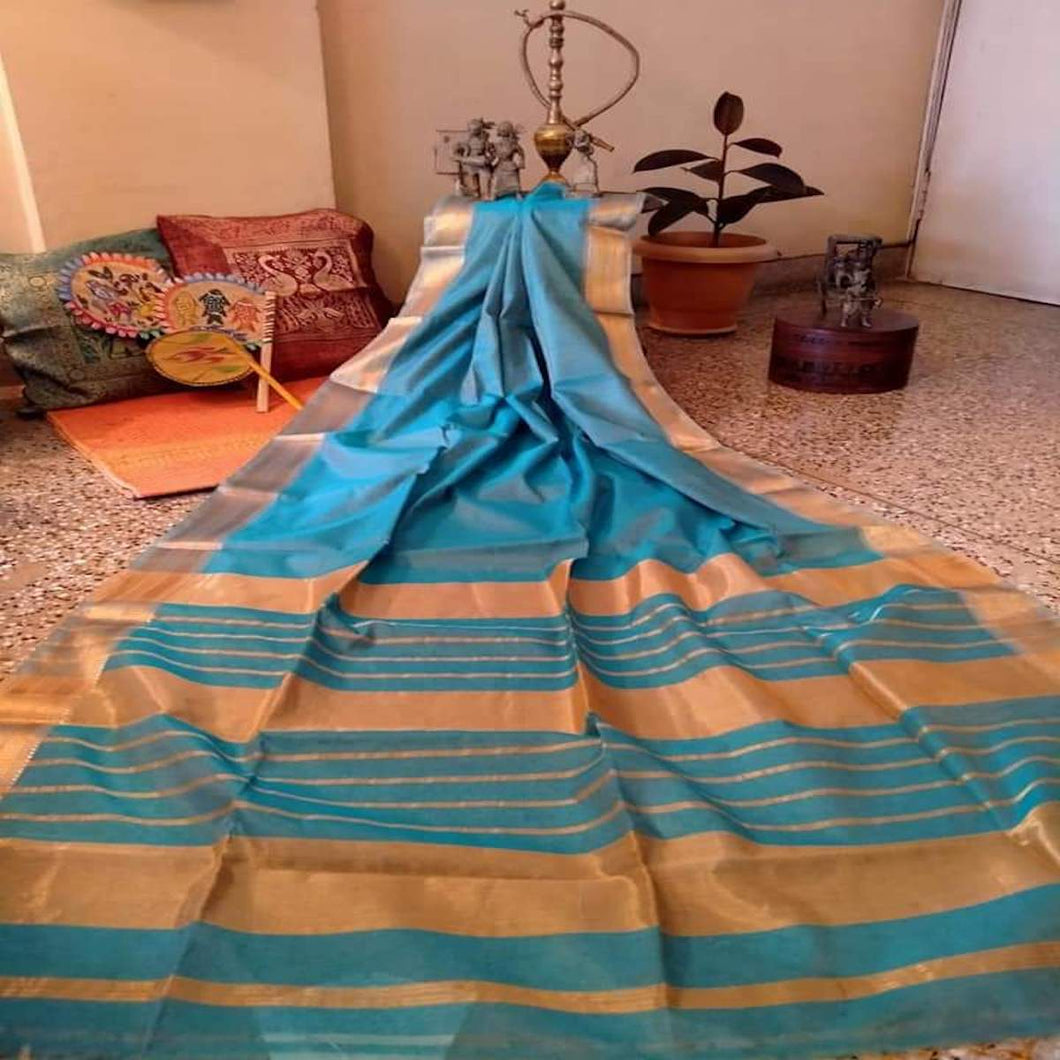 Blue Maheshwari Saree With Zari, Maheshwari saree price, Maheshwari sarees online India