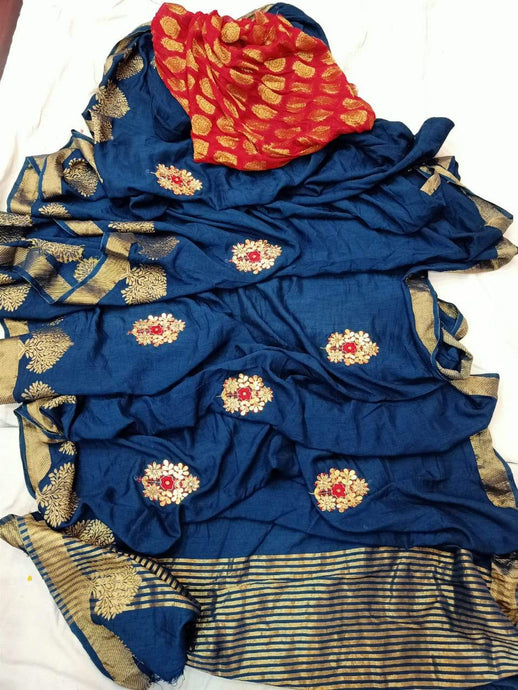 Blue Pure Dola Silk Gota Handwork Saree, This Gorgeous Dola Silk Handwork Saree Comes With Silk Saree Comes With Traditional Border And Boota, Also Comes With Contrast Banarasi Boota Blouce.Shop Authentic Silk Sarees Online At Best Price With Free Shipping And Cod Services.