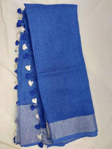 Blue Pure Line Saree,Best rates of line sarees in india, wholesale linen sarees online