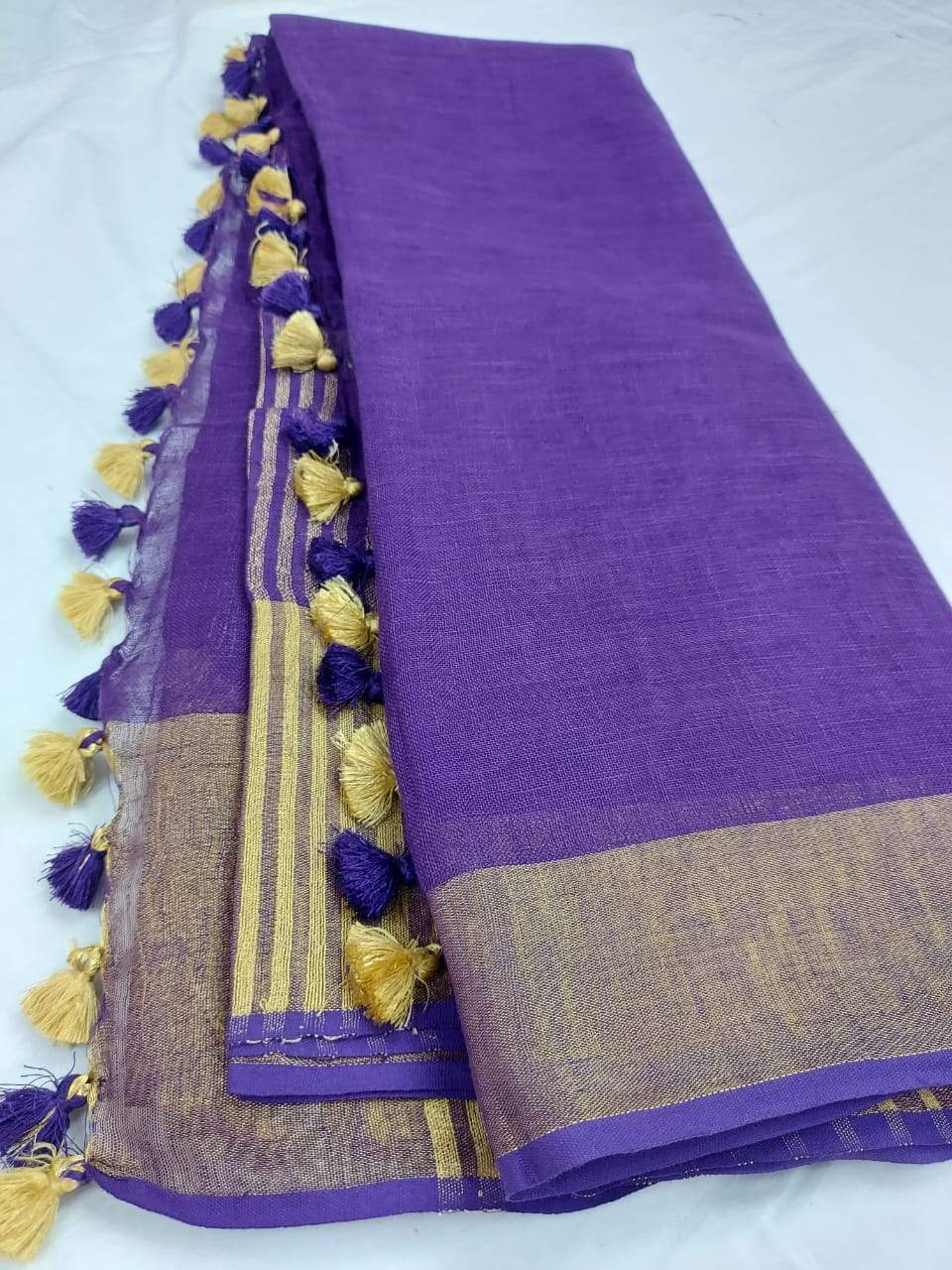 Blue Pure Linen Saree With Pompom,authentic linen saree, digital printed linen saree, line sarees online