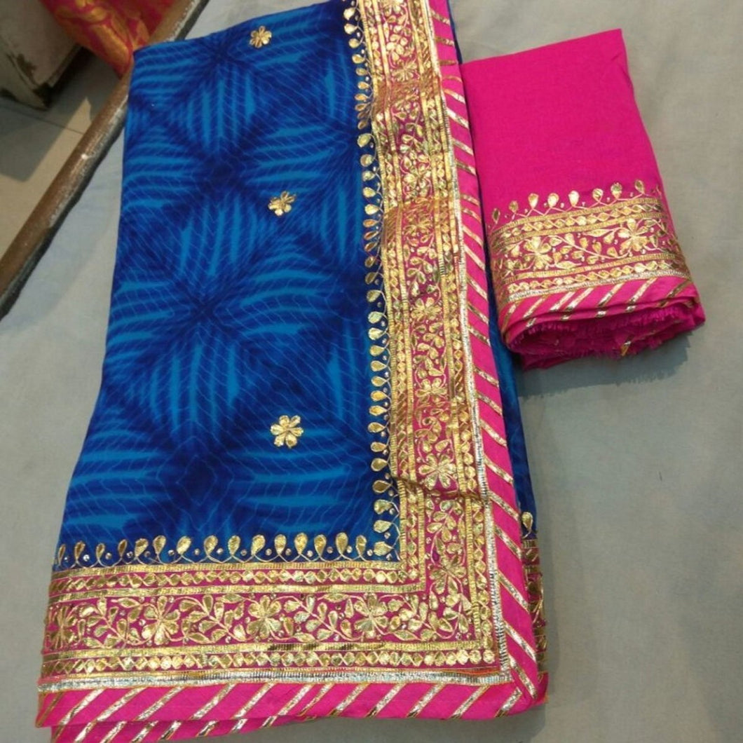 Blue Shibori Saree With Gota Patti Work,Rajasthani Gota Saree, Gota Patti Saree Rajasthan