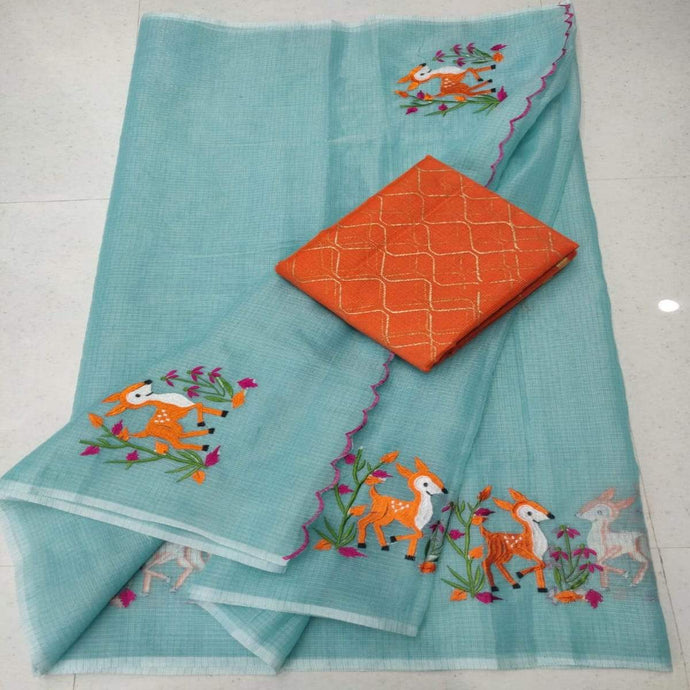 Blue and orange kota embroidery saree, pure kota embroidery sarees, Kota sarees in jaipur