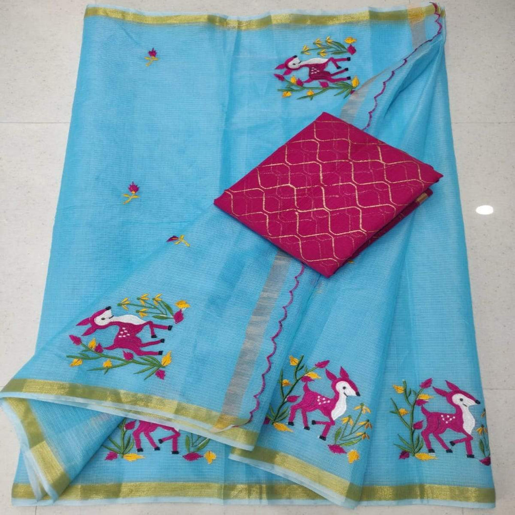 Blue and pink kota embroidered saree, pure kota embroidery sarees, Kota sarees in jaipur