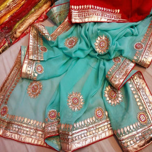 Blue and red saree with gota patti work