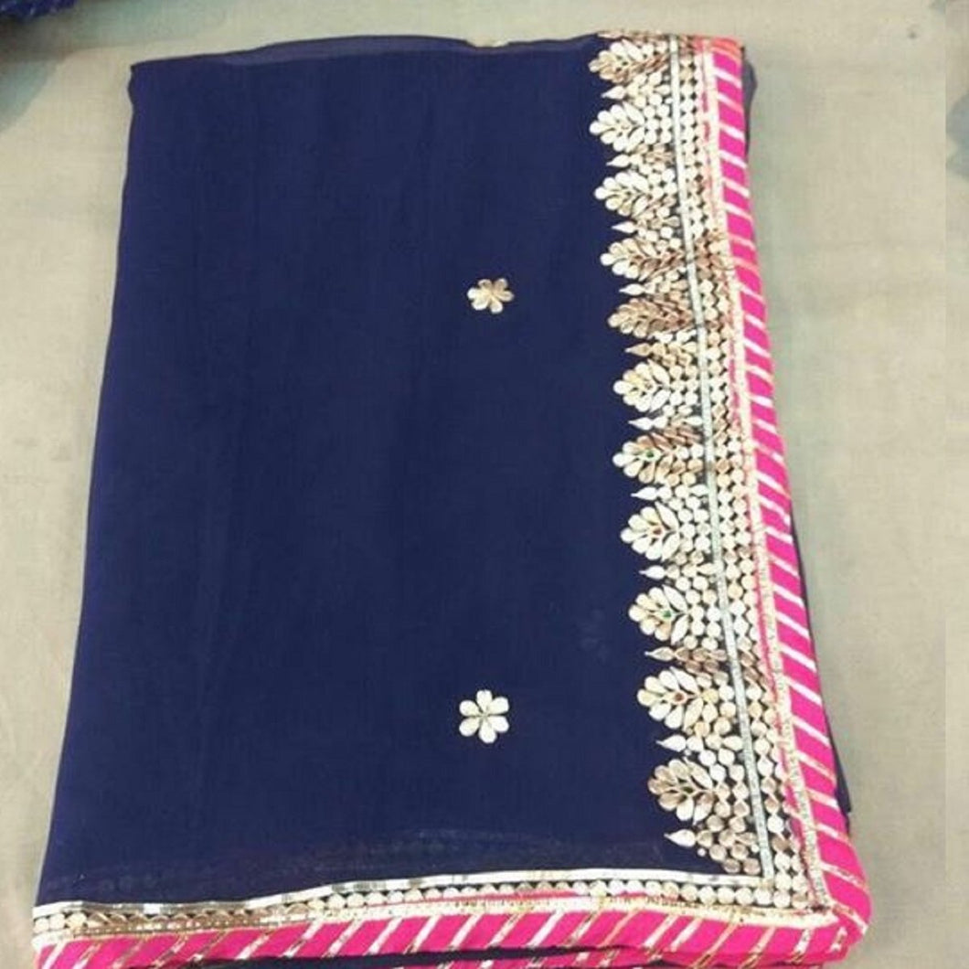 Blue gota patti saree design,gota patti saree wholesale surat,gota patti saree design