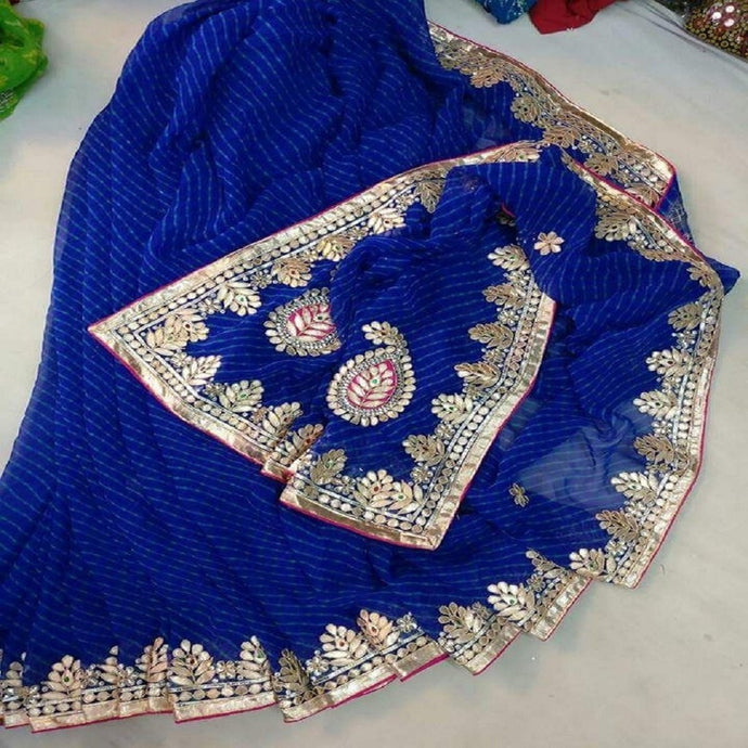 Blue laharia gota patti work saree,Gota Patti Saree Jaipur, Gota patti saree wholesale