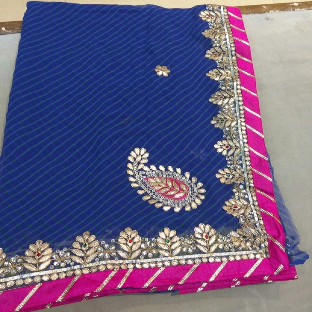 Blue mothra gota patti work saree,gota patti saree design,Gota patti saree catelogue
