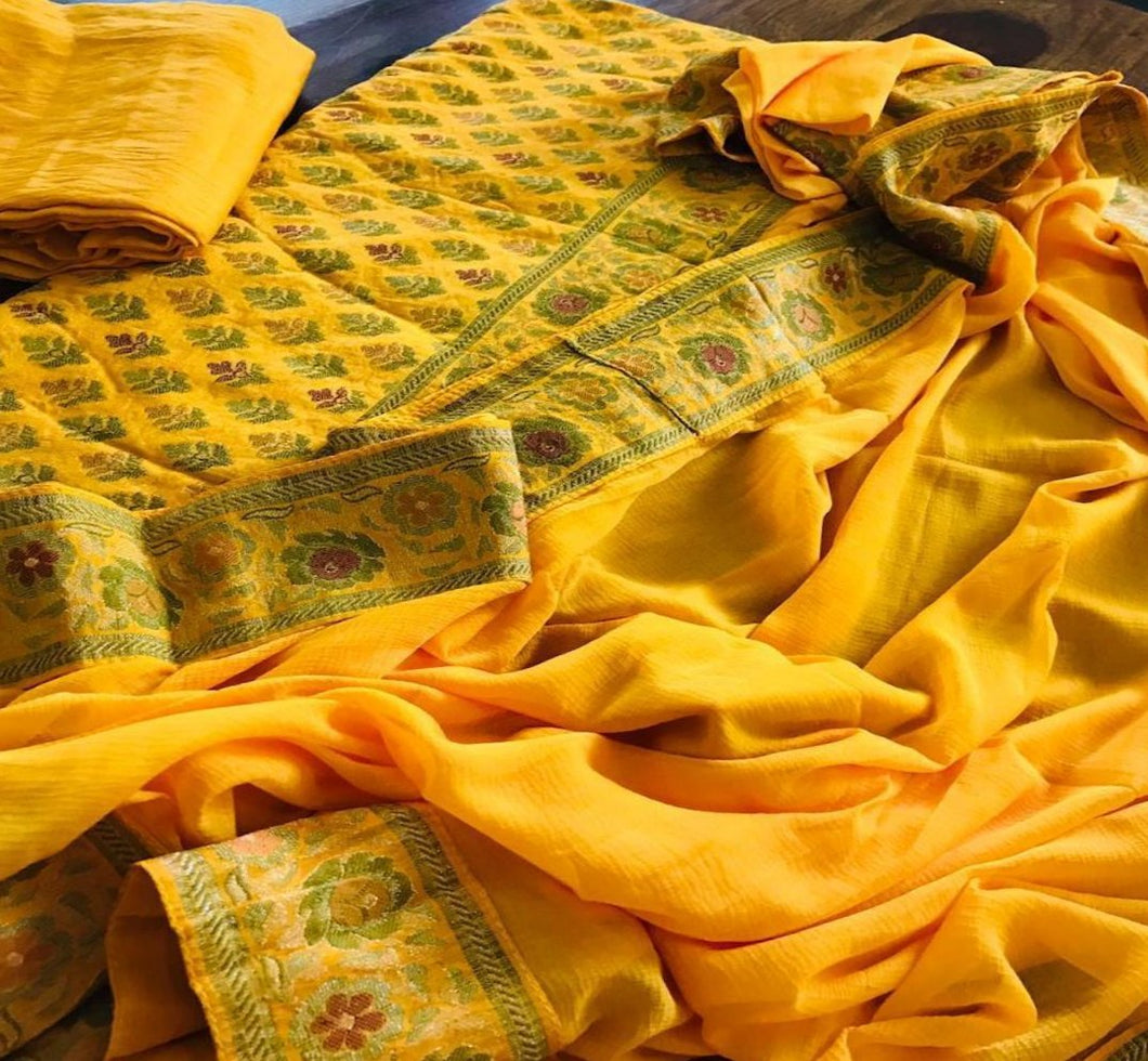 Bright Yellow Banarasi Salwar Suit With Chiffon Dupatta, Banarasi Silk Suit Online, Salwar Suit With Meenakari Work