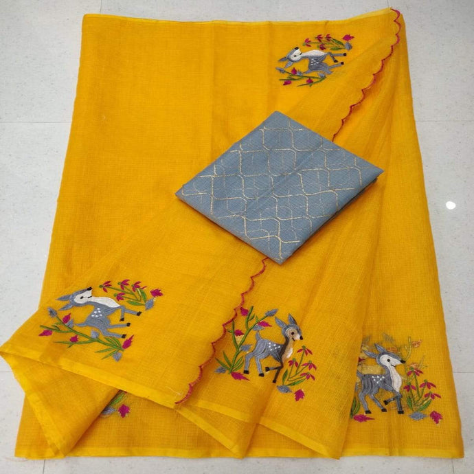 Bright yellow kota embroidered saree, Kota doria sarees, pure kota embroidery sarees