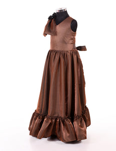 Brown Designer party wear long gowns for girls