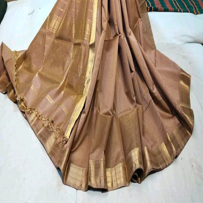 Brown Maheshwari Saree With Zari, Maheshwari sarees in pune, Pure maheshwari saree online