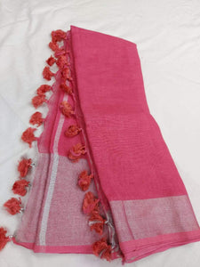 Carrot Pink Pure Linen Saree,Best rates of line sarees in india, wholesale linen sarees online