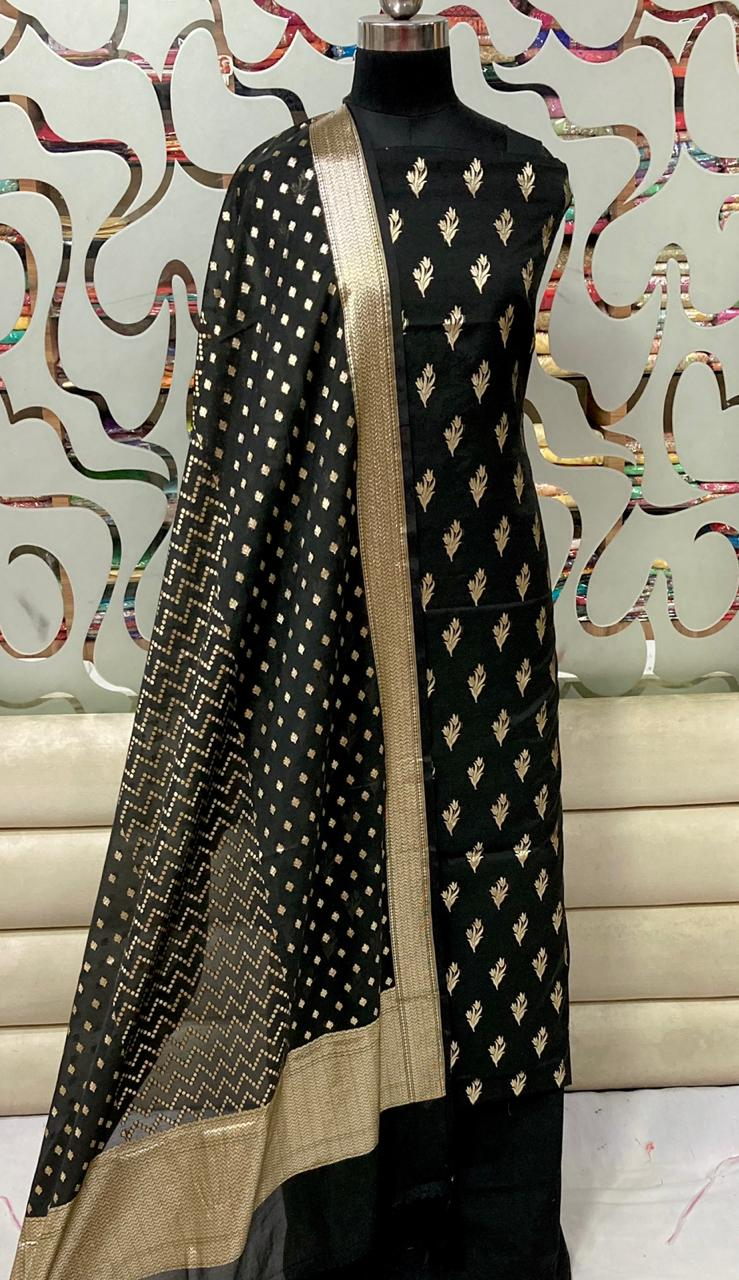 Chanderi Silk Suit With Banarasi Dupatta In Black,Banarasi Suit With Price,Pure Banarasi Suits Price