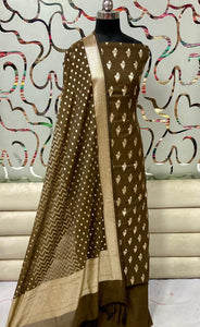 Chanderi Silk Suit With Banarasi Dupatta In Olive,Banarsi Suit Design 2020,Banarsi Suit Design Image