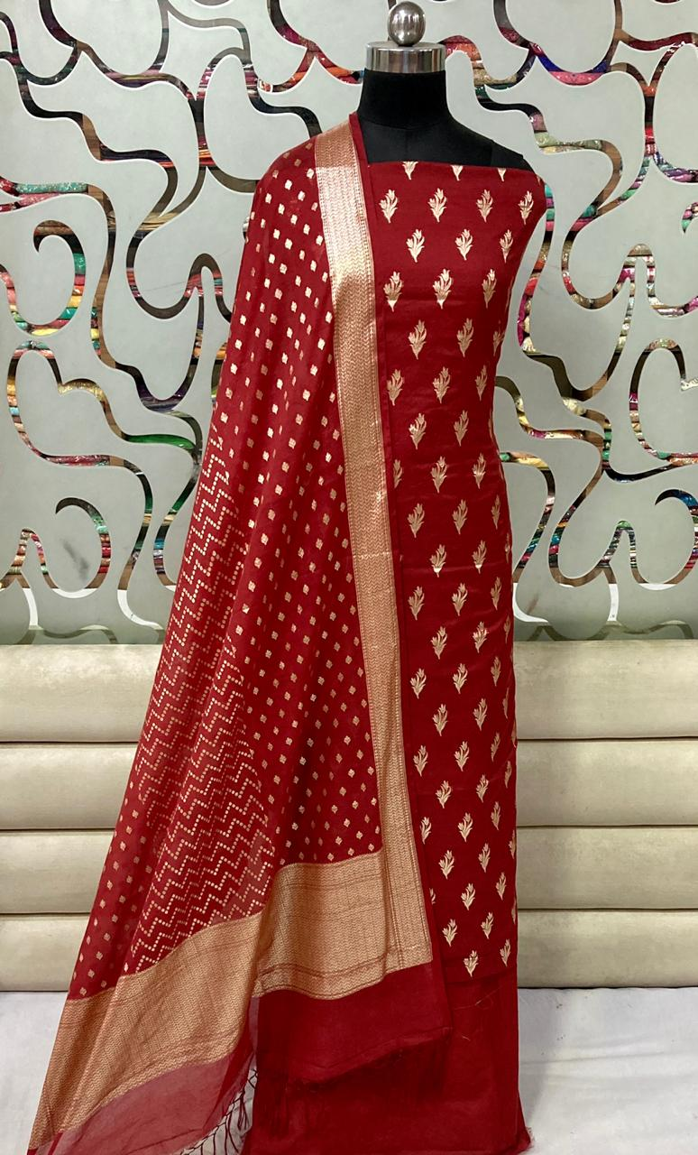 Chanderi Silk Suit With Banarasi Dupatta In Red,Pure Banarasi Suits Price,Punjabi Suit With Banarsi Dupatta