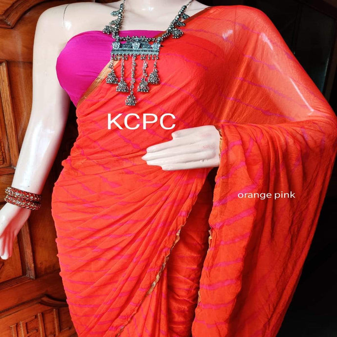 Chiffon Lehriya Saree In Dark Orange ,chiffon sarees wholesale in rajasthan