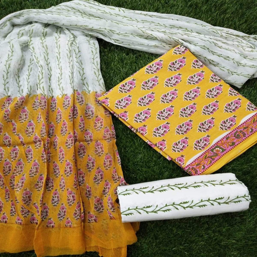 Cotton Block Print Suit In Mustard, Block Print Salwar Suits, Cotton Salwar Suits