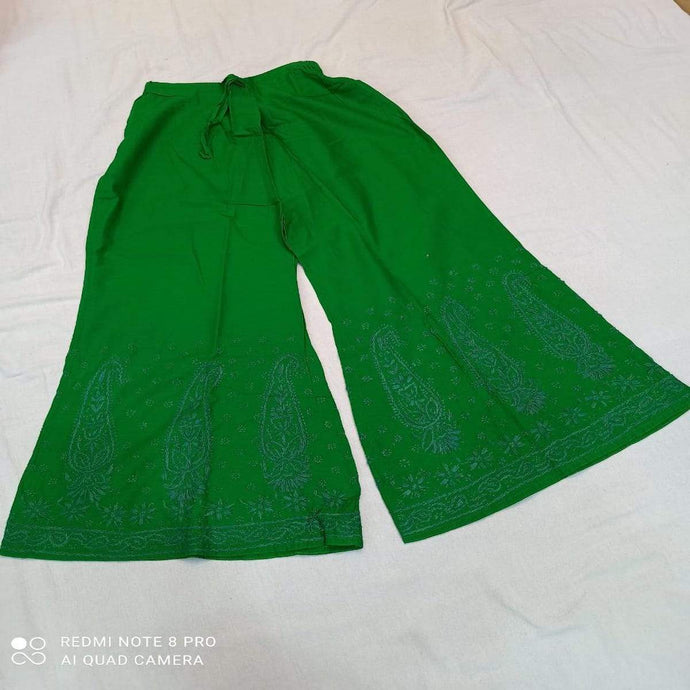 Cotton Palazzo In Green ,Comfortable Bottom Wear