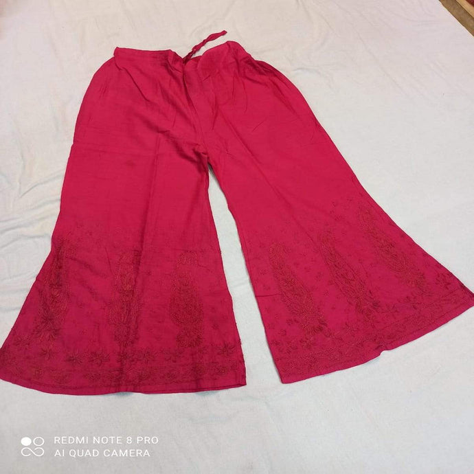 Cotton Palazzo In Red ,Cotton Palazzo Pants With Embroidery