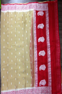 Cream and Red Banarasi Khaddi Georgette Saree, Pure khaddi Banarasi saree, Khaddi Banarasi saree
