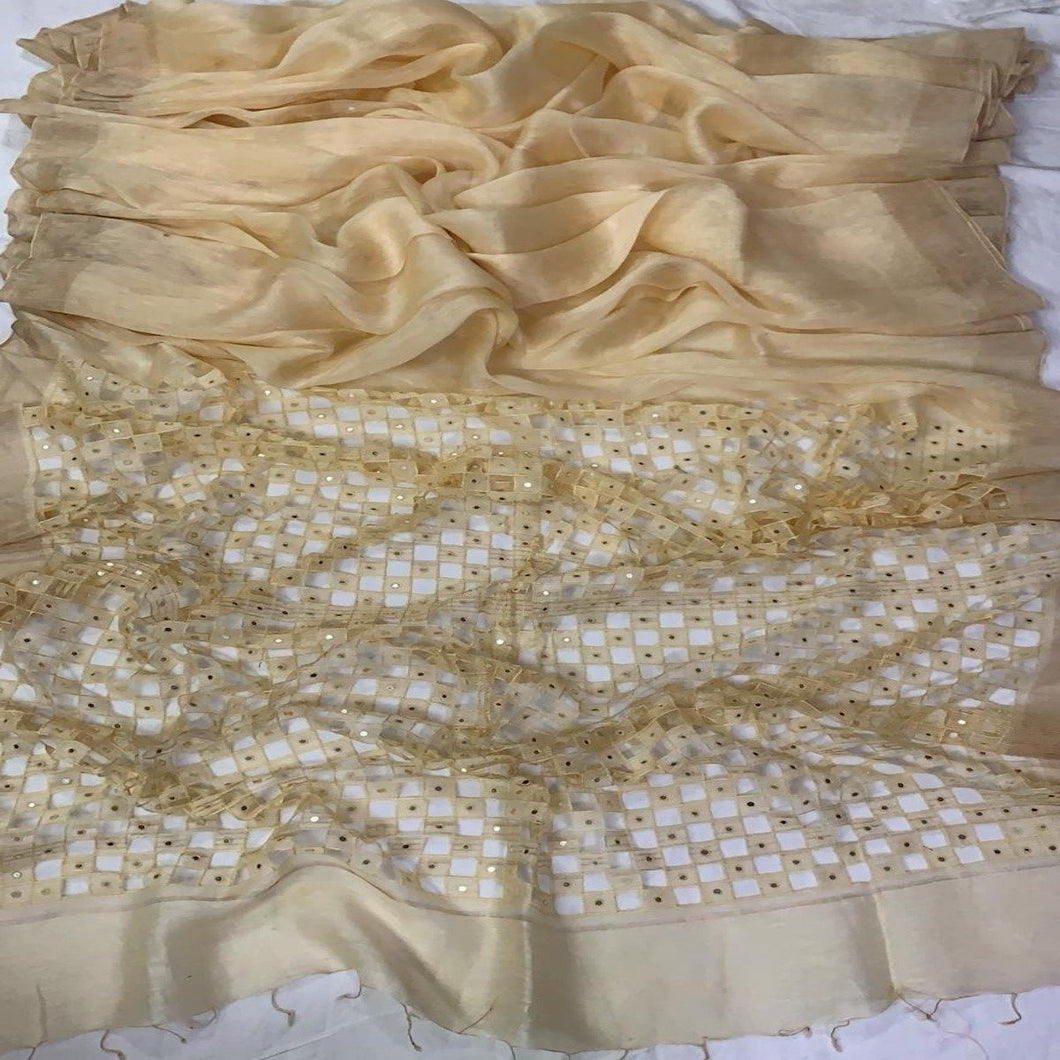 Cream Silk Linen Cutwork Saree ,Linen cutwork sarees, Linen saree with cutwork