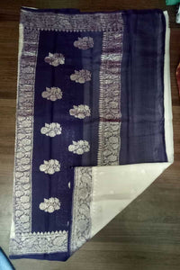Blue and White Banarasi Khaddi Chiffon Saree, Pure Khaddi Georgette Sarees, Pure banarasi saree online
