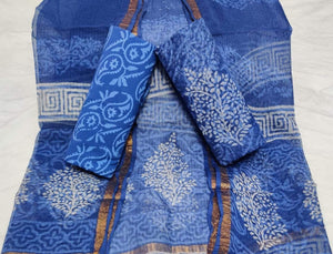 Dark Blue Bagru Kota Doria salwar suit, Kota doria salwar suits from rajasthan, Kota doria suits online