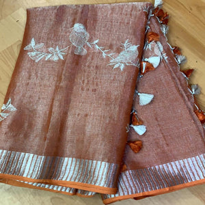 Buy Dark Brown Linen Tissue Embroidred Saree
